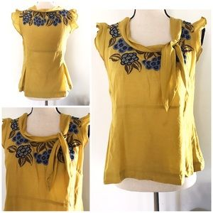 EUC Floreat Embroidered Floral Yellow Bow Blouse 4